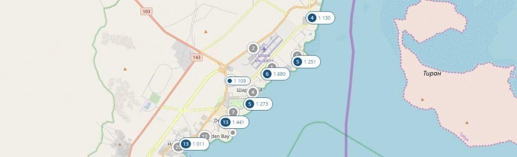 Иконки синего цвета на карте показывают актуальные предложения